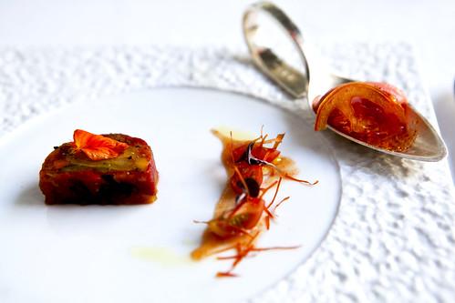 The modern dining room tasting menu the wandering eater for Tomato terrine