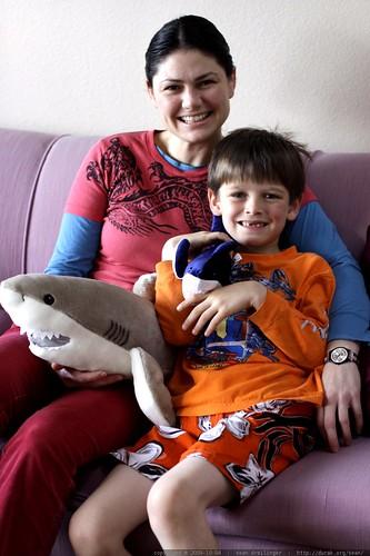 rachel, nick and their new stuffed sharks