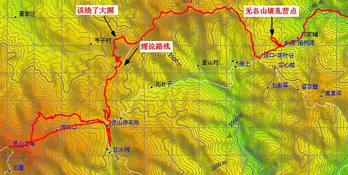 垭口-九山-北灵草甸-灵山停车场-地形图