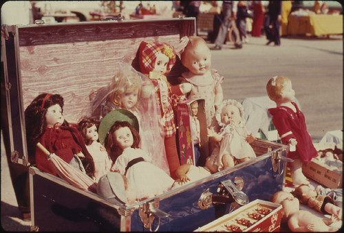Assortment of Dolls at a Flea Market in White Cloud, Kansas near Troy...09/1974