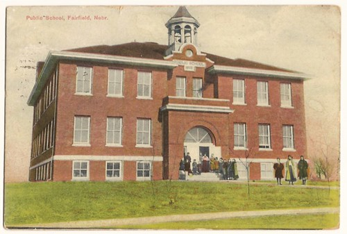 Old Vintage Postcard showing Public School, Fairfied, Nebraska 1908