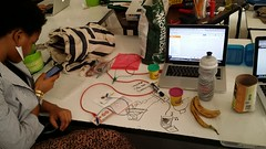 Experimenting with MaKey MaKey fruits ..