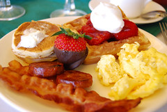 waffle(0.0), meal(1.0), breakfast(1.0), brunch(1.0), belgian waffle(1.0), meat(1.0), produce(1.0), food(1.0), full breakfast(1.0), dish(1.0), scrambled eggs(1.0), cuisine(1.0),