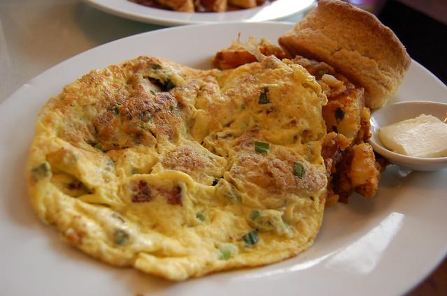 hangtown fry oyster + bacon scramble wt hash + biscuits | Flickr ...