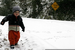 cautiously making his way down the snowy hill   on f…