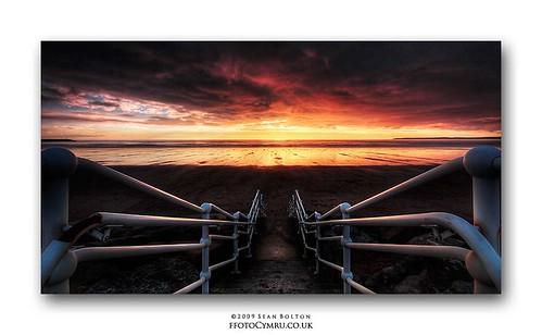 sunset beach wales coast cymru steps promenade coastline hdr aberavon porttalbot dapa seanbolton dapagroup ffotocymrucouk