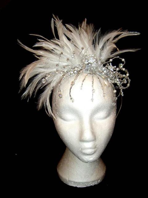 White Feather Bridal Headpiece