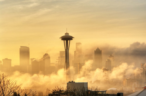 Foggy Golden Seattle Sunrise