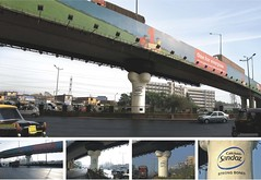 highway, vehicle, transport, public transport, overpass, bridge, advertising,