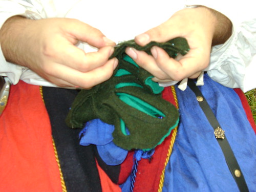 sewing the wool parts together