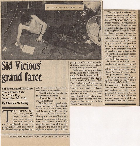11/02/78 Rolling Stone Magazine: Sid Vicious at Max's Kansas City