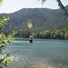 Rope swing at Heart Lake
