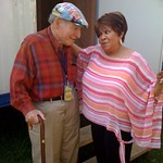 Sat, 01/08/2009 - 3:11pm - Mavis returns to Newport - she first appeared here in 1967 - and greets host George Wein.