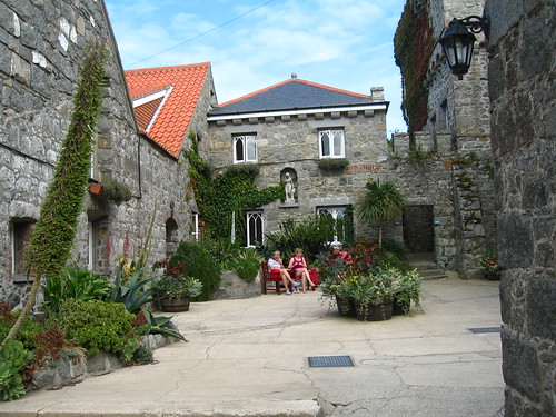 A little piazza in the village at the island of Herm in the Channel Islands, British Isles