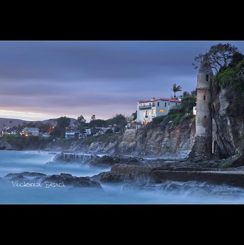 california ca sunset sea usa seascape beach rock landscape dominique lagunabeach 100iso 105mm victoriabeach 2011 fav10 canoneos5dmarkii 300secatf10 palombieri lensef24105mmf4lisusm stunningphotogpin