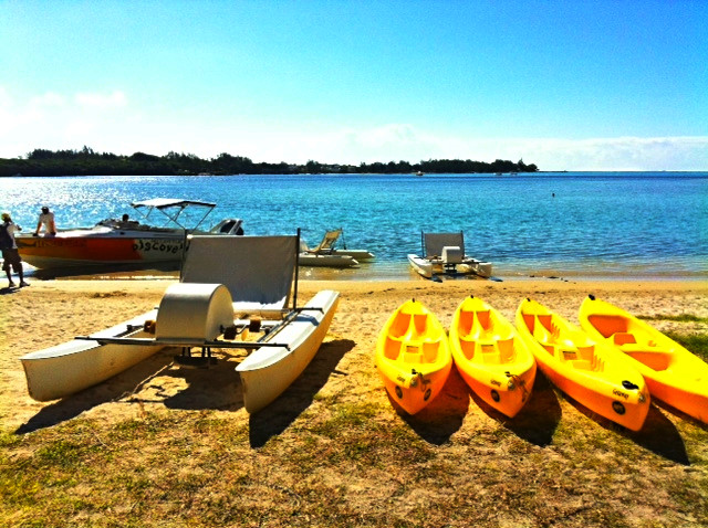 water sports options in Mauritius including kayaking and boating
