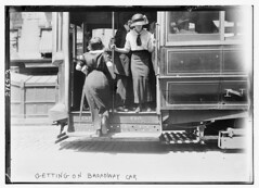 Getting on Brdway car  (LOC)