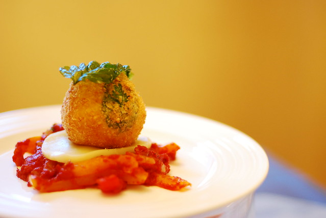 Arancini   Saffron risotto Arancini filled with Beef & Peas ...