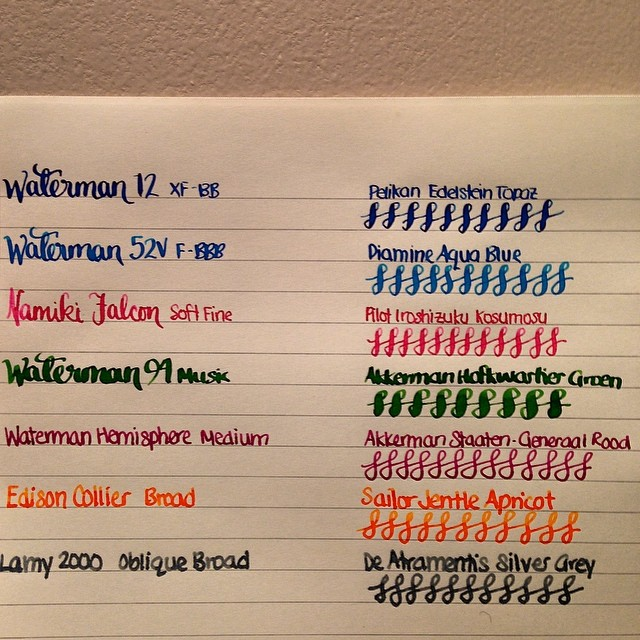 There's those inks again, with corresponding pen names (and nibs). #fountainpens #inks #inkporn