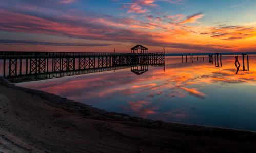 ocean park wood sea sun reflection slr nature water weather silhouette clouds sunrise river virginia pier wideangle leesylvania d300
