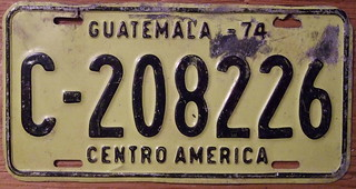 GUATEMALA 1974 TRUCK LICENSE PLATE