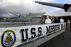 Defense Secretary Robert M. Gates tours the U.S.S. Missouri Memorial, Ford Island, Hawaii, May 31, 2011.  Defense Dept. photo by Cherie Cullen (released)