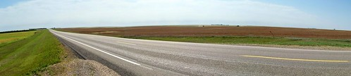 panorama brown canada color colour green highway pavement farm harvest standrews sk prairie saskatchewan agriculture 2009 2000s canadagood