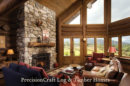 Great Room View in a Handcrafted Log Home | PrecisionCraft Log Homes