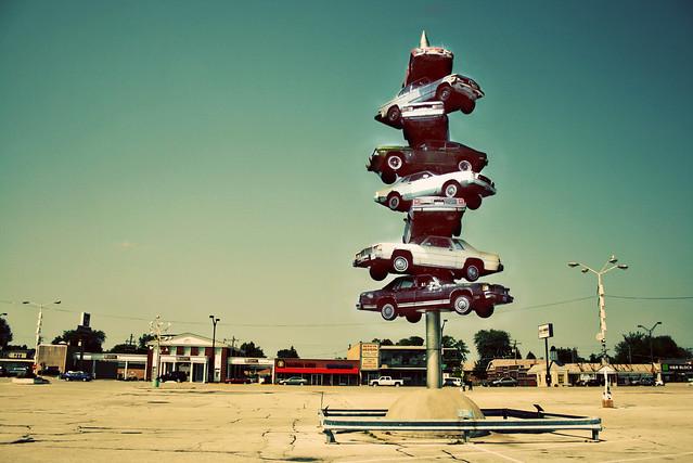 Berwyn Illinois - The Spindle - cars on a spike - Car Kabob - circa 2007