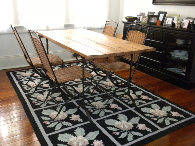 Trestle Dining Table And 4 Wicker Chairs From Pottery Barn