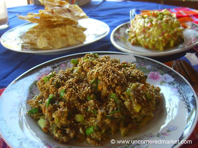 Burmese Food, Eggplant Salad - Bagan, Burma