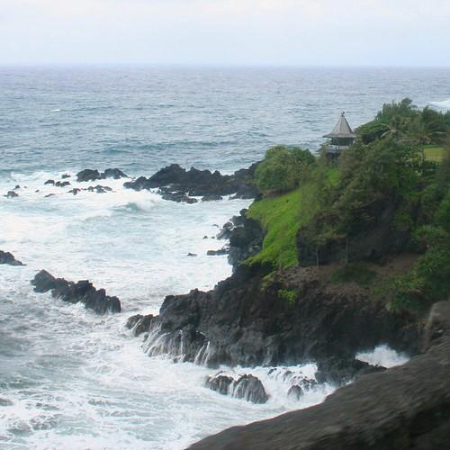 A gazebo poised on a cliff along Maui's east coast.