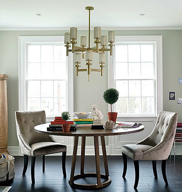 Upholstered Chairs on Elegant Dining Room  Circular Table   Upholstered Chairs  From Domino