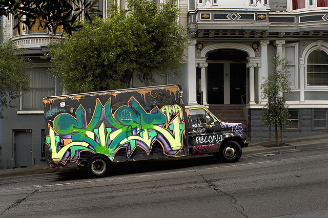 graffiti truck, San Francisco (2009)