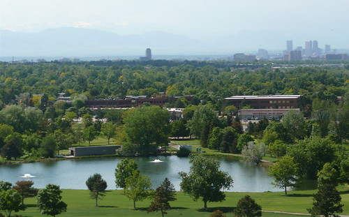 view towards downtown Denver from Cherry Creek Dam road