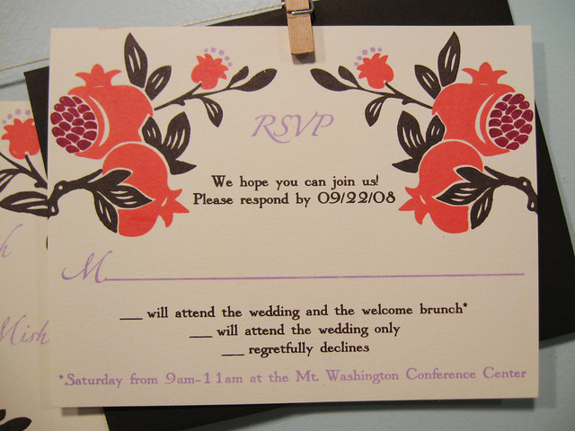 Megan Jacob 39s pomegranate wedding invitations