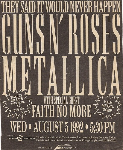 09/15/92 Guns 'N' Roses/Metallica/Faith No More @ Minneapolis, MN (Ad for Originally Scheduled Date - 08/05/92 - Rescheduled to 09/15/92)