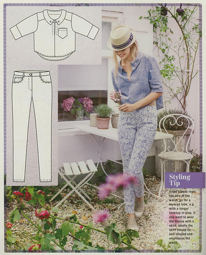Burda-March-2014 Cropped Blouse and Jeans