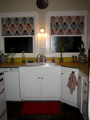 kitchen with crazy curtains