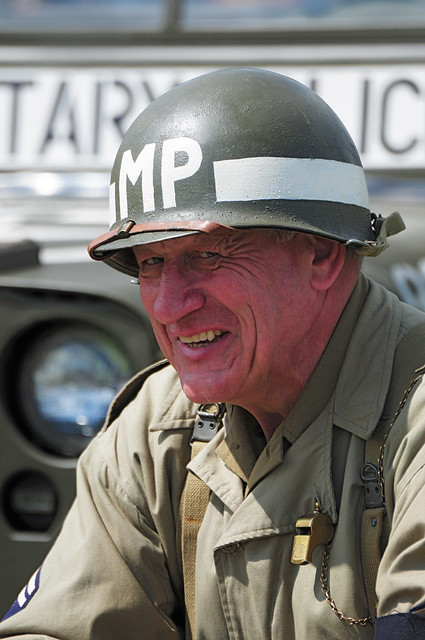 American WW2 Military Police Re-enactor at Kelmarsh Festival of History 2009