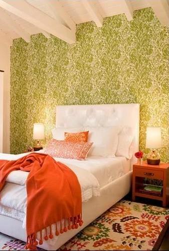 Green white orange bedroom modern wallpaper for Green bedroom wallpaper