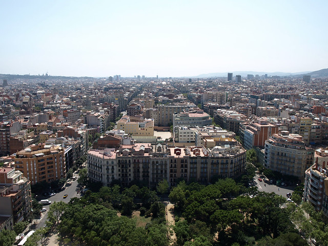 Barcelona city design: Eixample from La Sagrada Familia