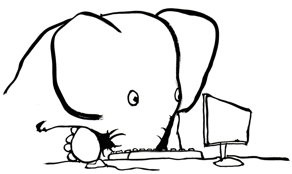 Elephant on the computer illustration