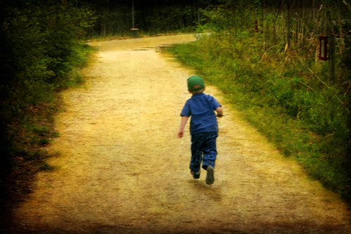 A child starts off on a walk