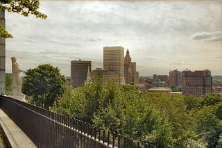 B_12A College Hill - Roger Williams Statue (1939) and Downtown Providence from Prospect Terrace (1867) - 75 Congdon Street - Looking South-West