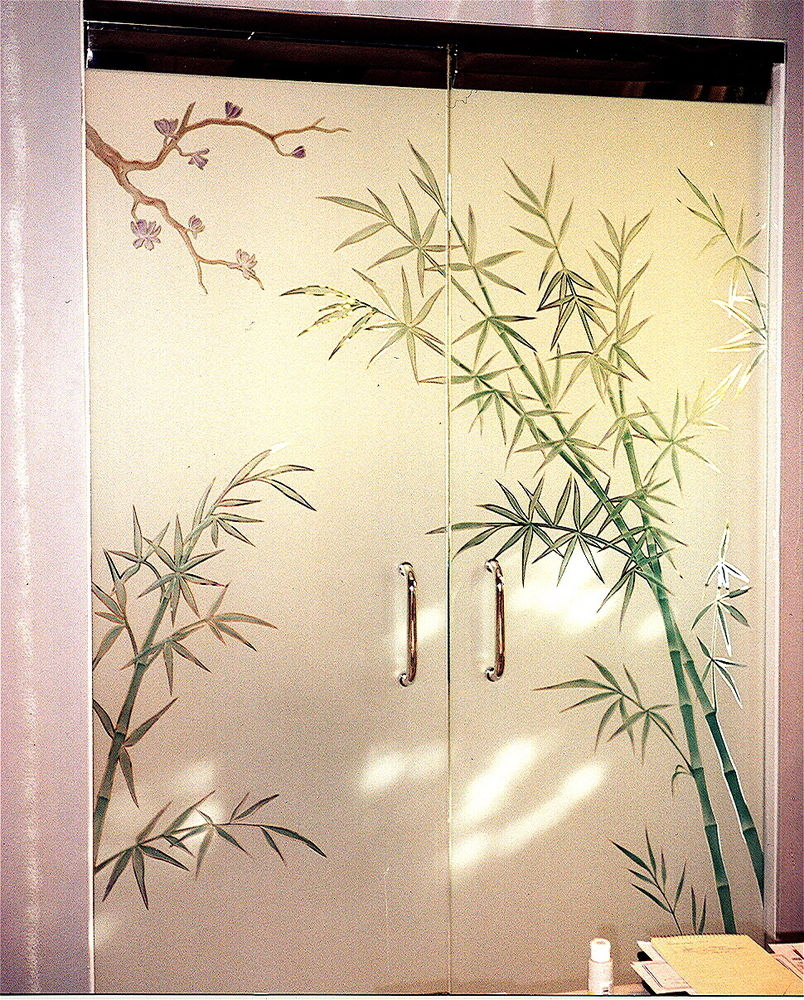 Etched Decorative Architectural Art Glass Frameless Door Bamboo