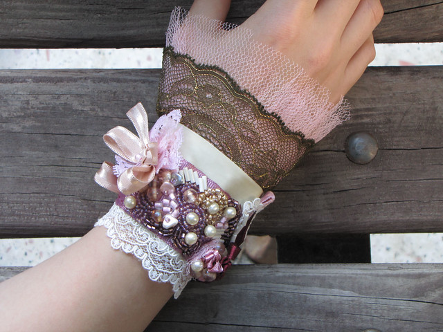 Victorian Cuff with Lace, Pearls and Beads