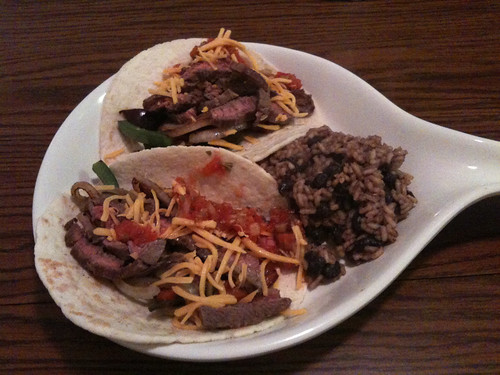 Skirt Steak Tacos with Black Beans and Rice