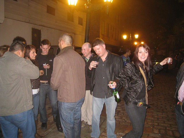 Hanging out in the street after last call, during my first night out partying in Bogota