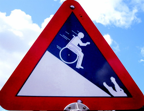 "The old ""Steep hill with crocs""-warning sign"